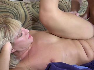 Wonderful beauty mom with saggy tits & guy
